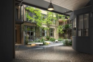 Fulham conversion for Verve Properties Hunts Paper Factory interior courtyard with luscious planting and bench seating
