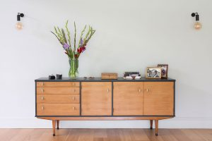 mid-century sideboard with Junction wall lights from Heals in Oxford detached house designed by Element Studios