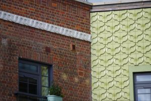 Beautiful 1950s style Kaza Vine pale green and white concrete tiles by Gillian Blease for the Old Market Building Brentford
