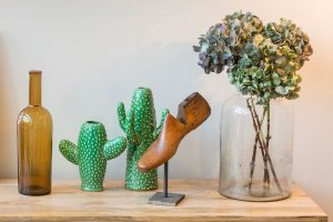 Rockett St George green cactus vase and vintage hardwood shoe stretcher from The Old Cinema London interior design styling