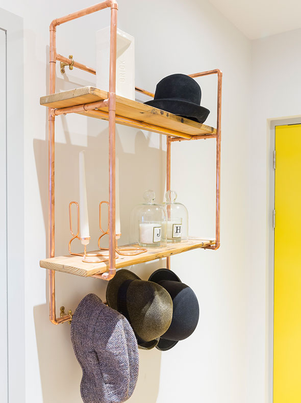 Fulham hallway interior with bespoke copper wall hung coat stand by Steel Roots Design and accessories from Twentytwentyone