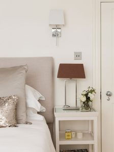 Listed building renovation bedroom close-up with silver table lamp and white bedding interior architecture by Element Studios