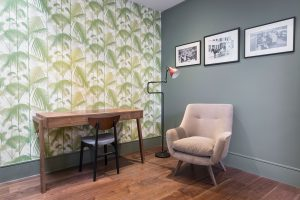 Fulham study with Colefax & Fowler Green Smoke wallpaper and vintage Lampe Grasse red floor lamp interior by Element Studios