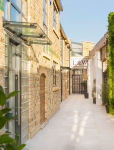 private walk way to exclusive luxury townhouses Sunlight Mews in Fulham by Element Studios