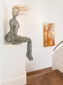Sunlight Mews townhouse in Fulham by Verve Properties with Rachel Ducker Wire sculpture of woman